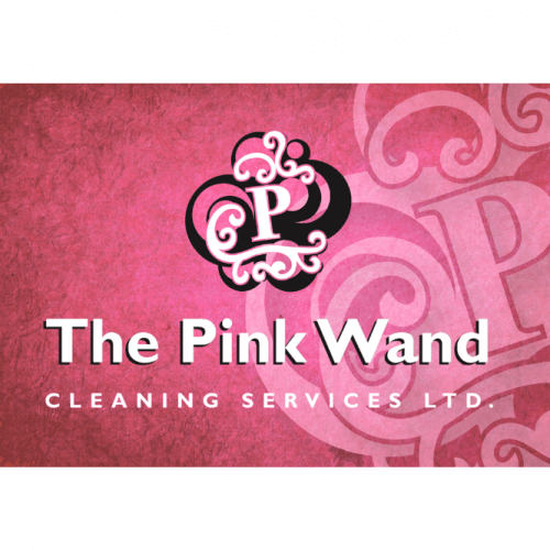 logo for the pink wand cleaning services in airdrie